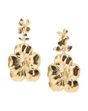 Boucles d'oreilles dorées 24k Flor Bijoux Margidarika