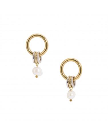 Boucles d'oreilles dorées 24k Perle Calypso Bijoux Margidarika