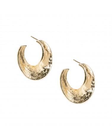 Boucles d'oreilles dorées 24k Fossile Bijoux Margidarika