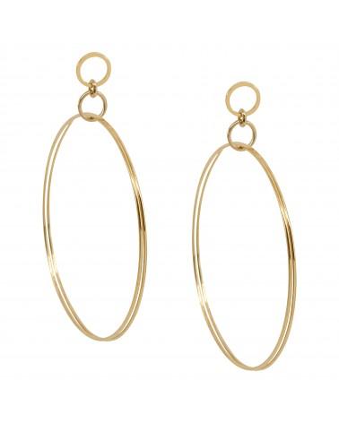 Boucles d'oreilles créoles dorées 24k Sherlock Bijoux Margidarika