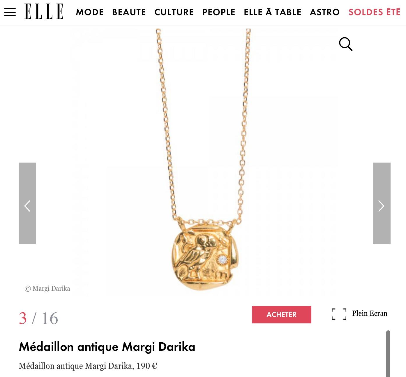 Parution web Elle Magazine.