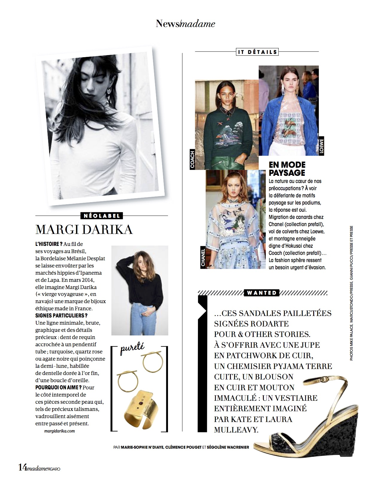 Madame Figaro parution magazine Margi Darika.
