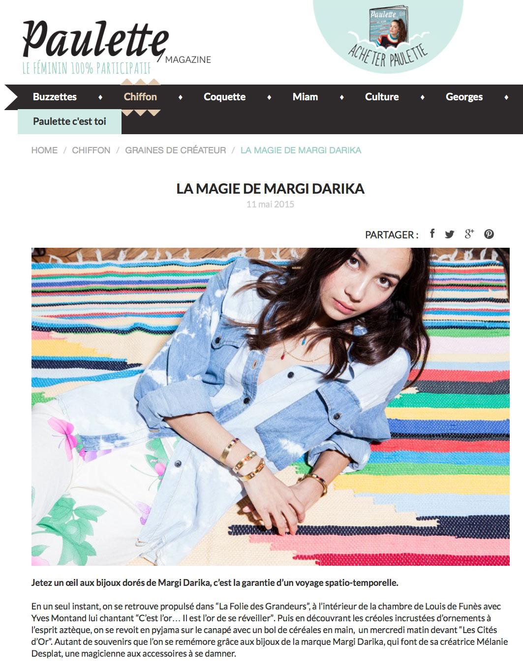 Paulette magazine parution Margi Darika 05/15.