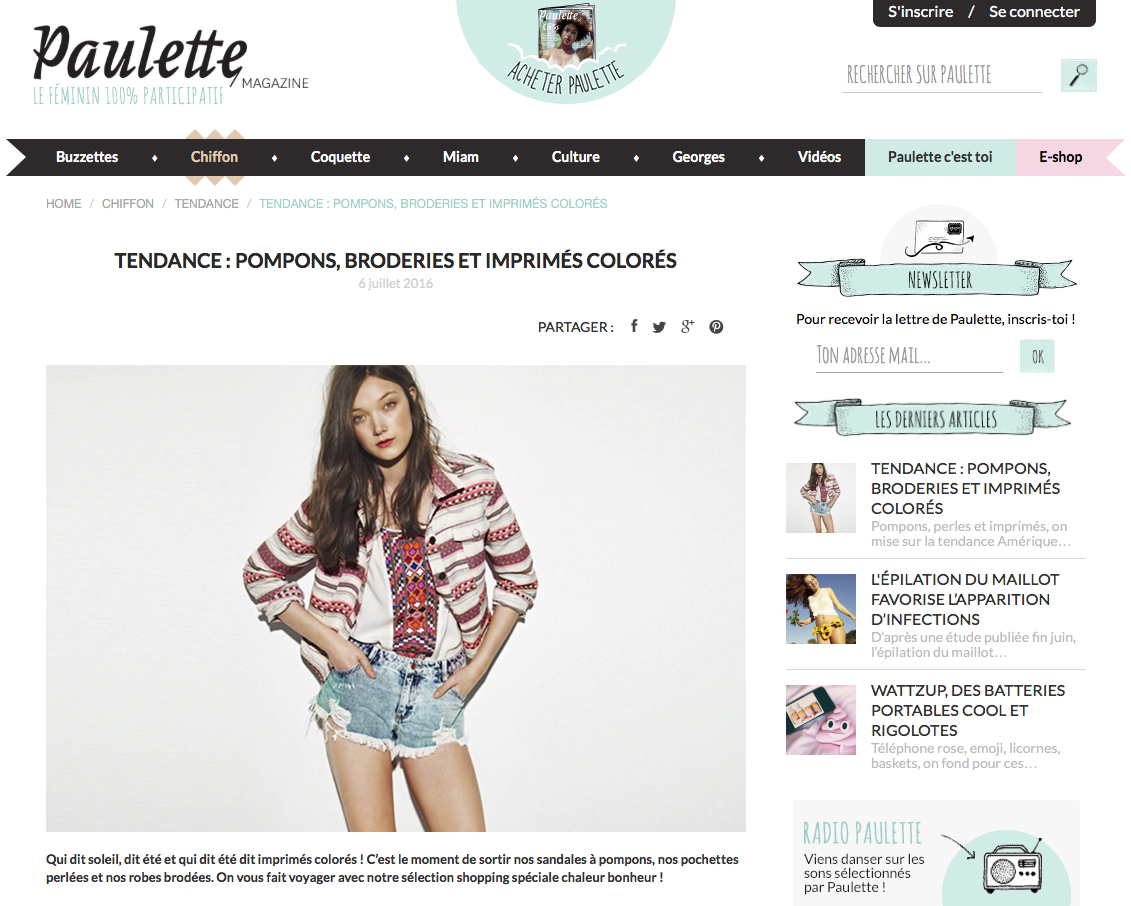 Paulette magazine parution Margi Darika.