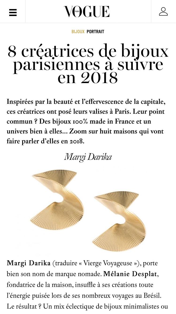 Vogue parution web Margi Darika.